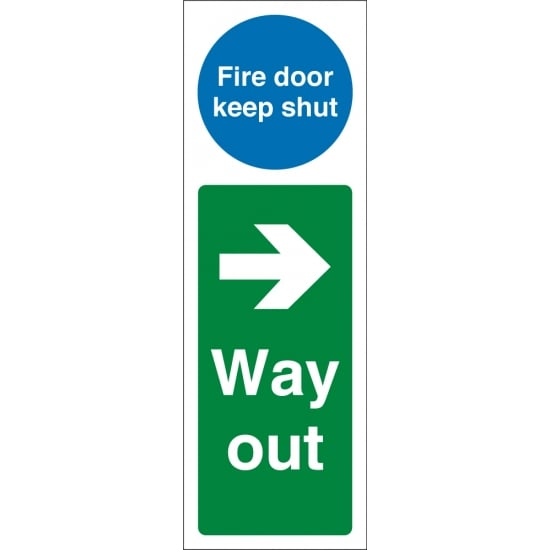 Fire Door Keep Shut Way Out Right Signs