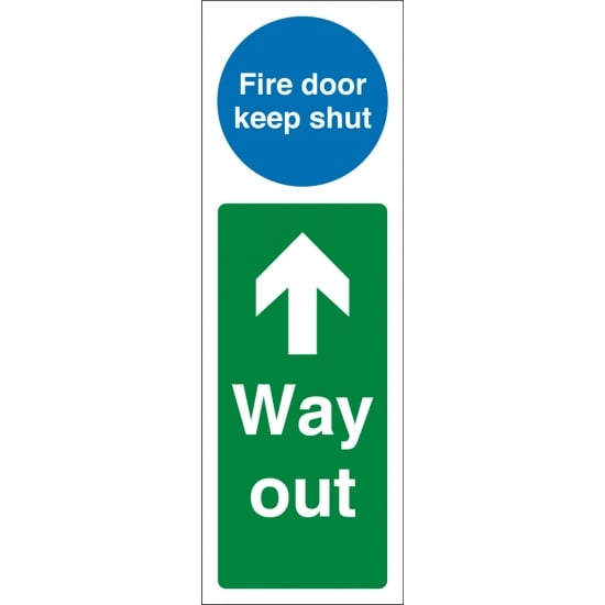 Fire Door Keep Shut Way Out Up Signs