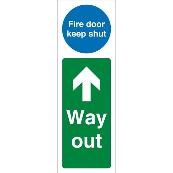 Fire Door Keep Shut Way Out Up Signs