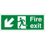 Fire Exit Arrow Down Left Signs