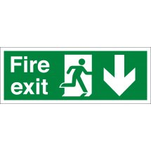 Fire Exit Arrow Down Signs