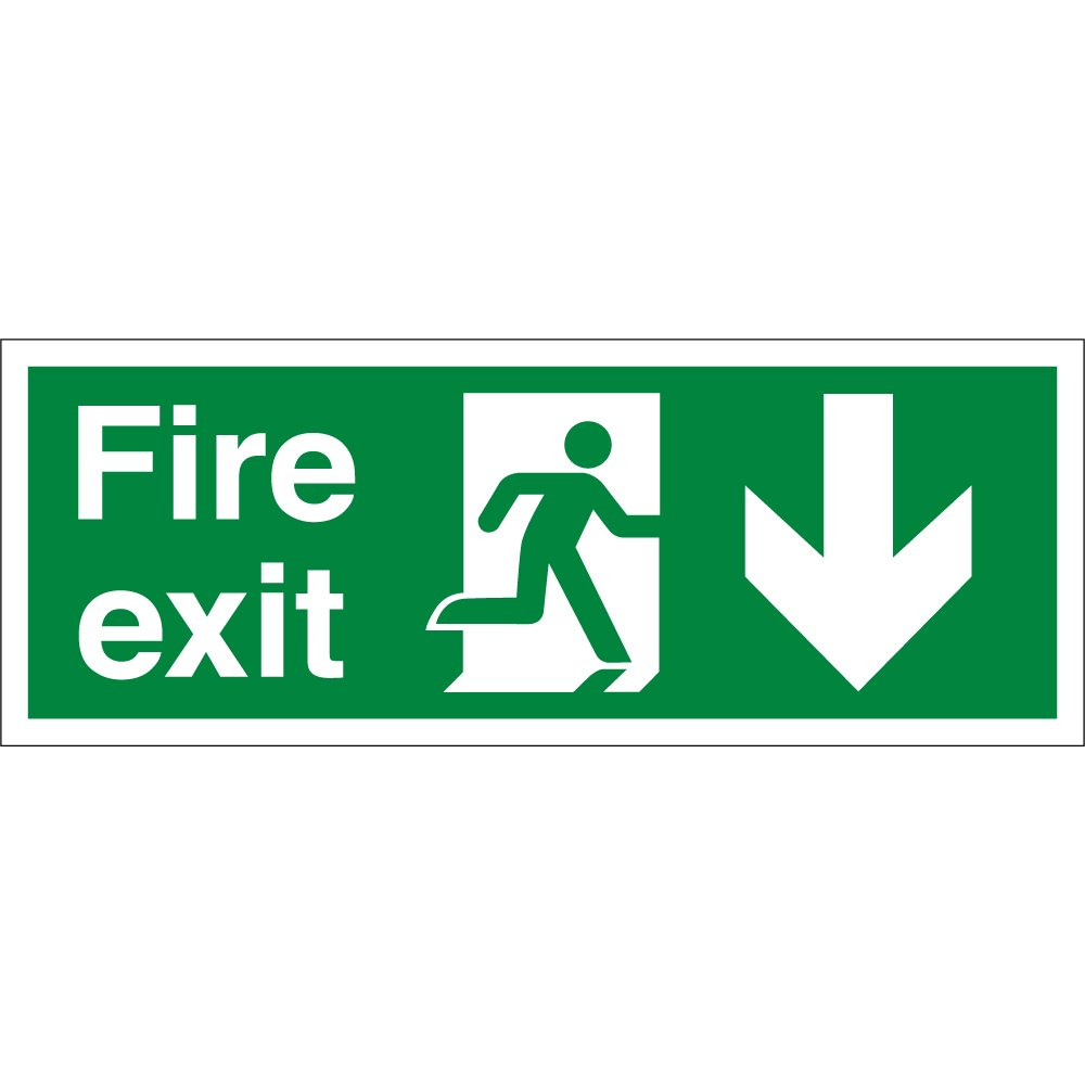 fire exit arrow down signs from key signs uk. Black Bedroom Furniture Sets. Home Design Ideas