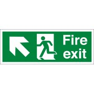 Fire Exit Arrow Up Left Signs