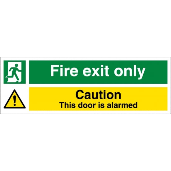 Fire Exit Only Door Alarmed Signs