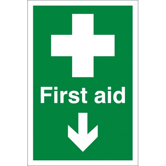 First Aid Arrow Down Signs