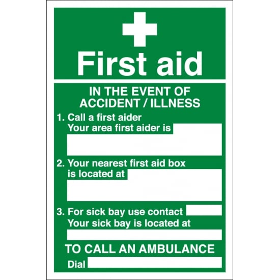 First Aid Event Of Accident Signs