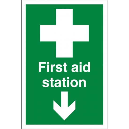 First Aid Station Arrow Down Signs