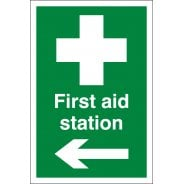 First Aid Station Arrow Left Signs