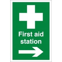 First Aid Station Arrow Right Signs