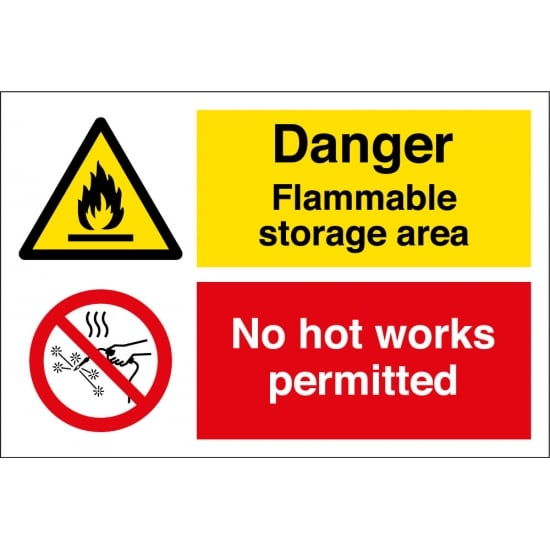 Flammable Storage Area No Hot Works Permitted Signs