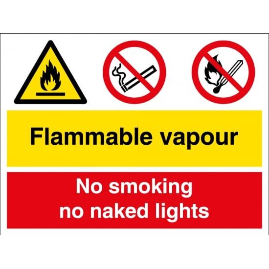 Flammable Vapour No Smoking No Naked Lights Signs