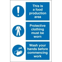 Food Production Protective Clothing Wash Hands Signs