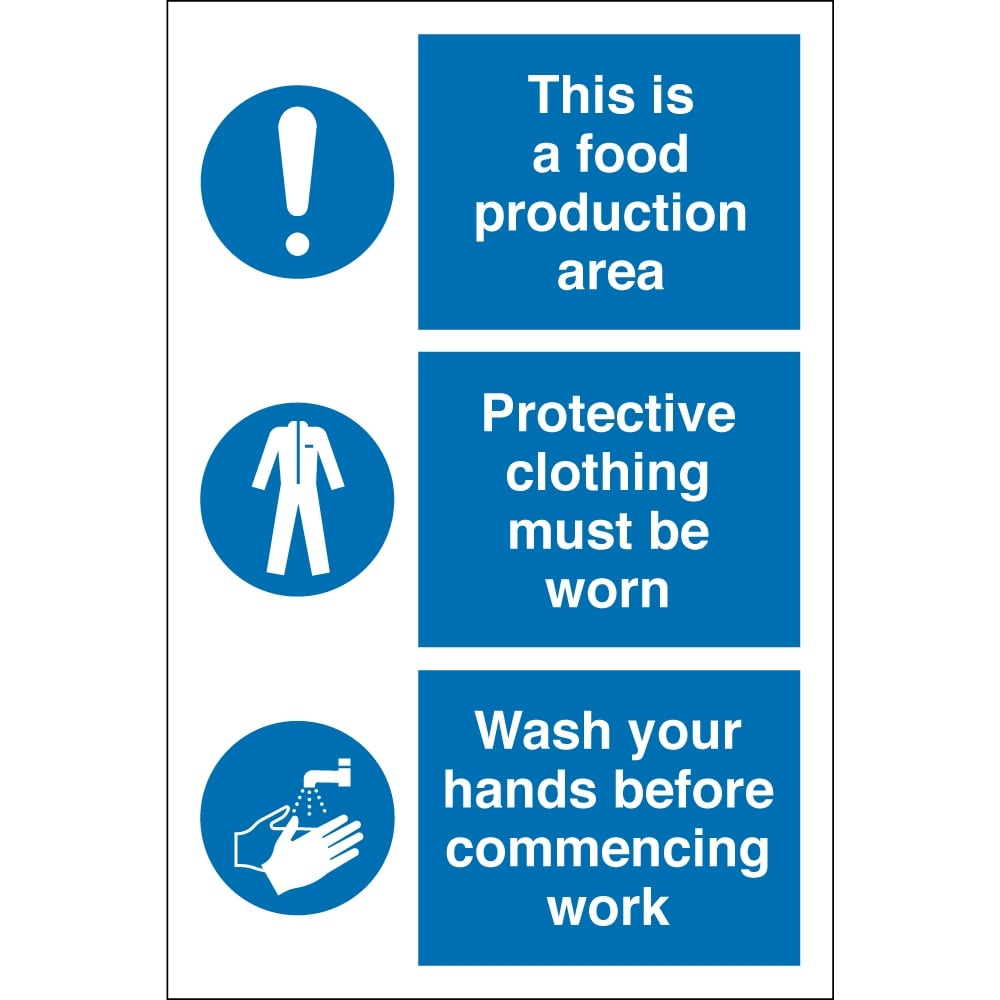 Clothes Wash Signs: Food Production Protective Clothing Wash Hands Signs