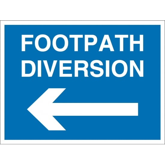 Footpath Diversion Arrow Left Signs