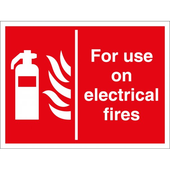 For Use On Electrical Fires Signs