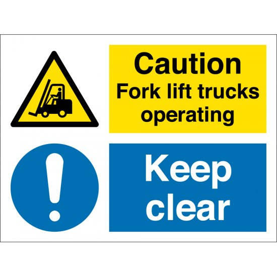 Fork Lift Trucks Operating Keep Clear Signs