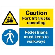 Fork Lift Trucks Operating Pedestrians Keep To Walkways Signs
