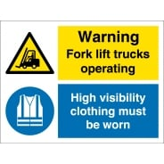 Fork Lift Trucks Operating Wear High Visibility Clothing Signs