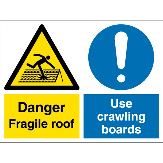 Fragile Roof Use Crawling Board Signs