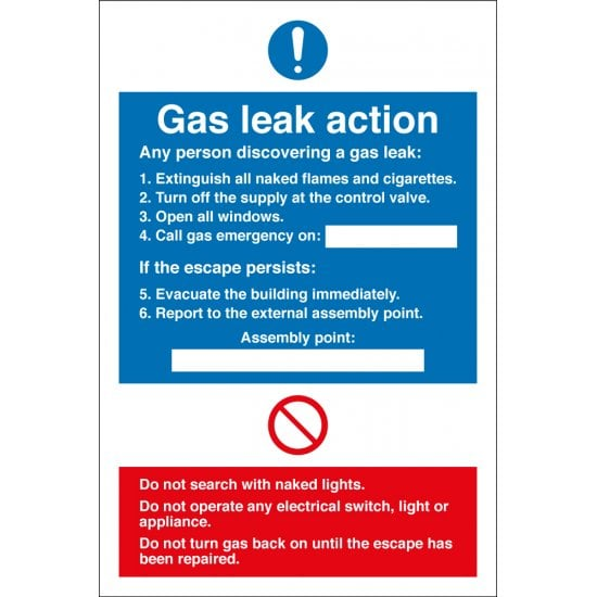 Gas Leak Action Signs
