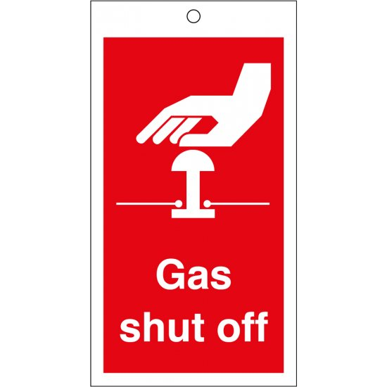Gas Shut Off Safety Tags 80mm x 150mm Pack of 10