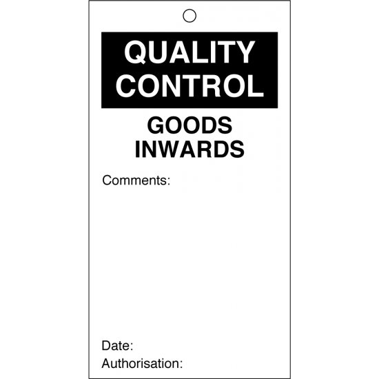 Goods Inwards Quality Control Tags 80mm x 150mm Pack of 10