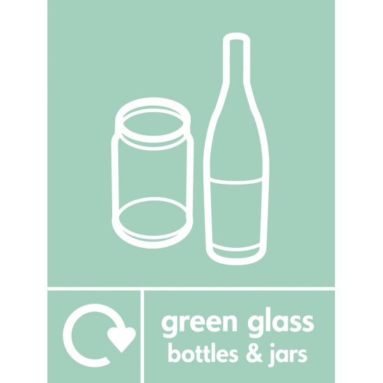Green Glass Waste Recycling Signs