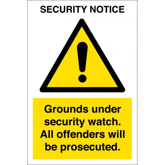 Grounds Under Security Watch Signs