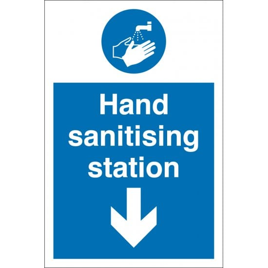 Hand Sanitising Station Arrow Down Signs