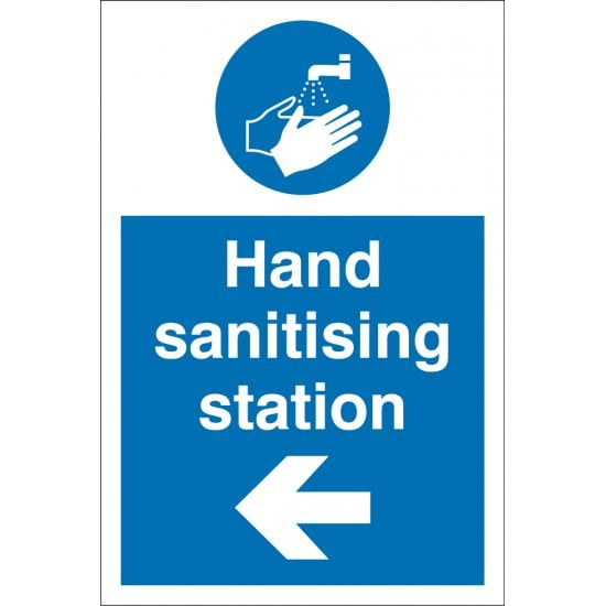 Hand Sanitising Station Arrow Left Signs