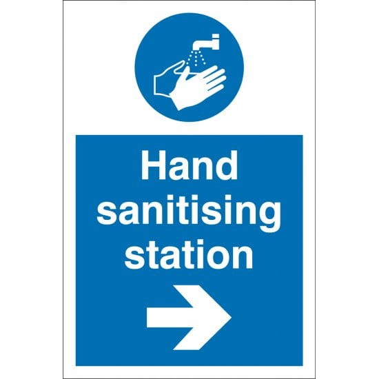 Hand Sanitising Station Arrow Right Signs
