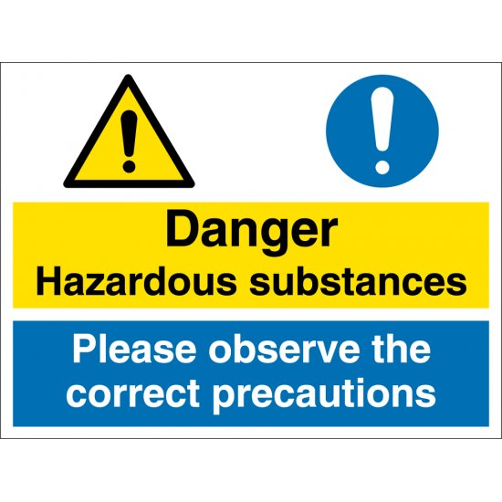 Hazardous Substances Observe Correct Precautions Signs