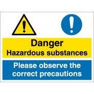 Hazardous Substances Observe Correct Precautions Signs