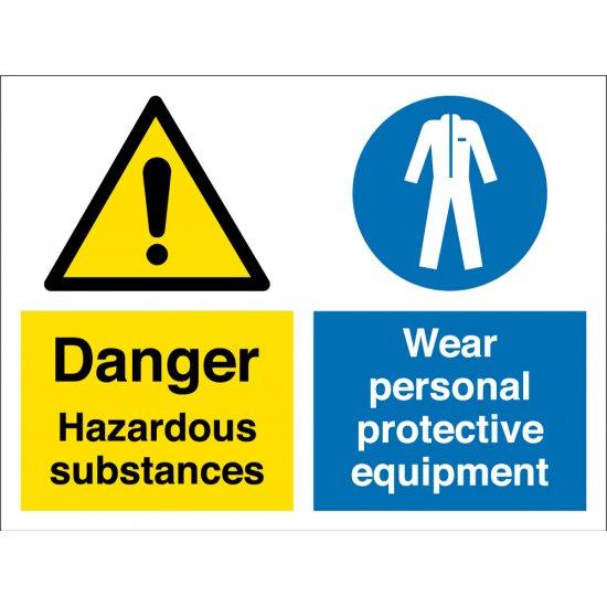 Hazardous Substances Wear Protective Equipment Signs