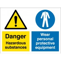 Hazardous Substances Wear Protective Equipment Signs