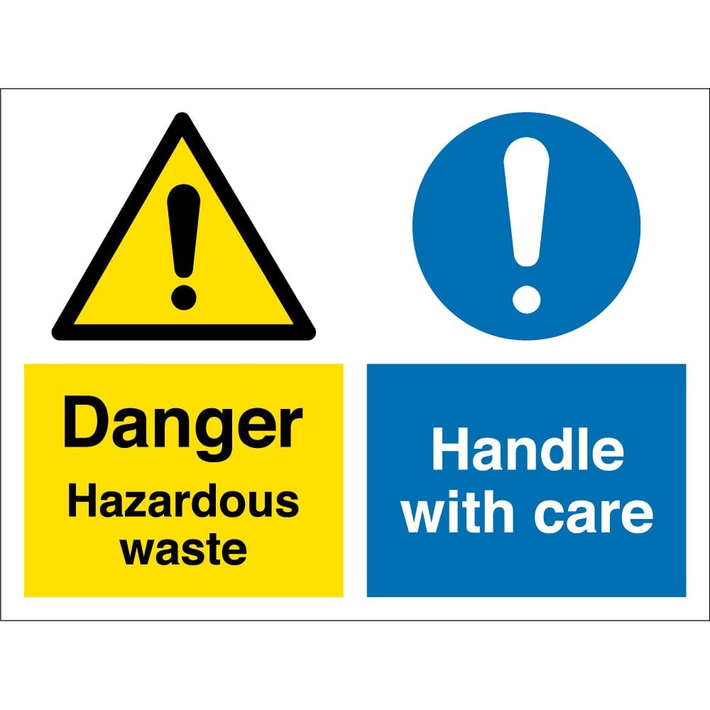 hazardous waste handle with care signs from key signs uk
