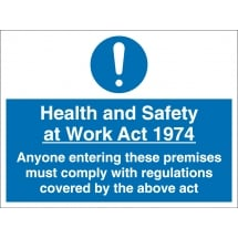 Health And Safety At Work Act Signs
