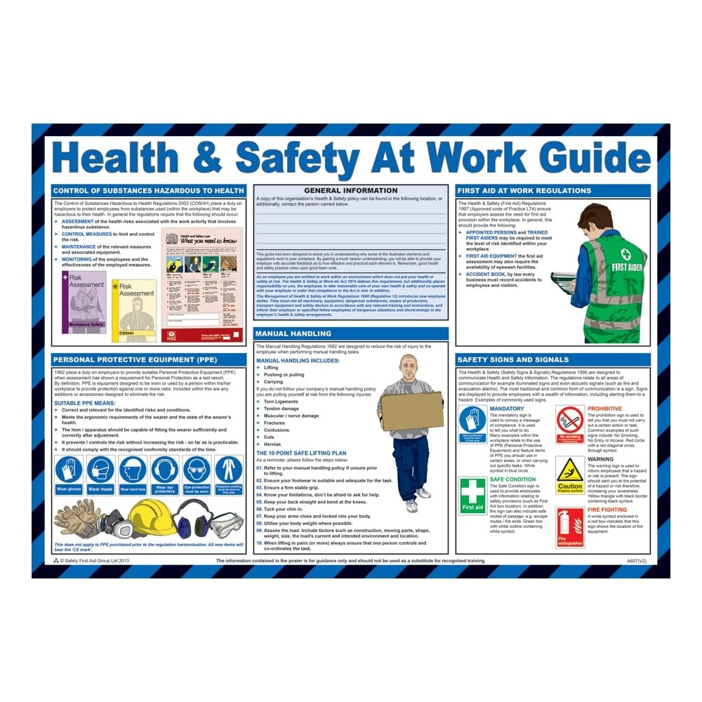 Health And Safety At Work Guide Posters 590mm x 420mm ...
