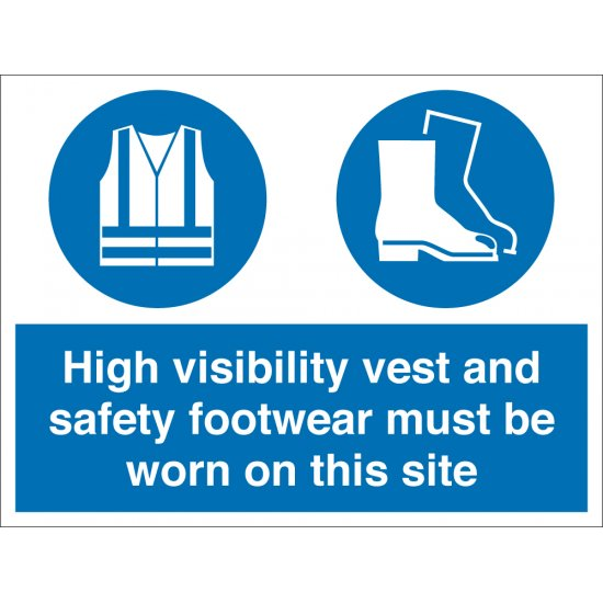 High Visibility Vest And Safety Footwear Signs