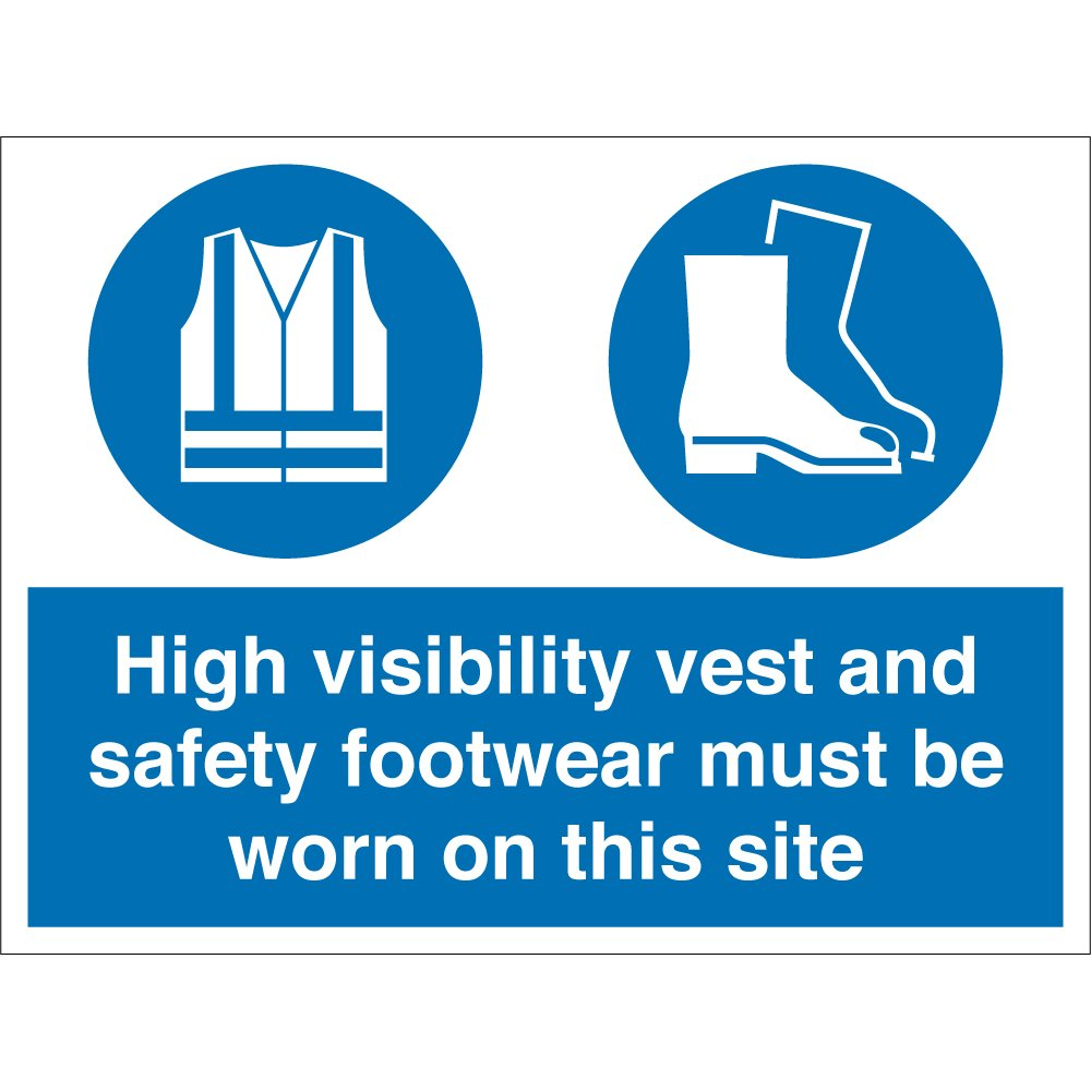 high visibility vest and safety footwear signs from key