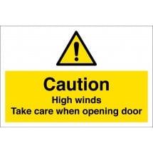 High Winds Take Care When Opening Door Signs
