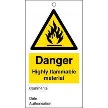 Highly Flammable Material Safety Tags 80mm x 150mm Pack of 10