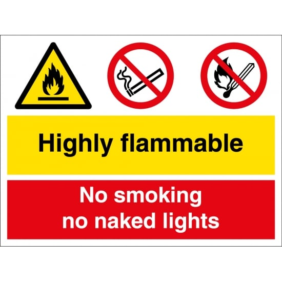 Highly Flammable No Smoking No Naked Lights Signs