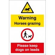 Horses Grazing Keep Dogs On Leads Signs