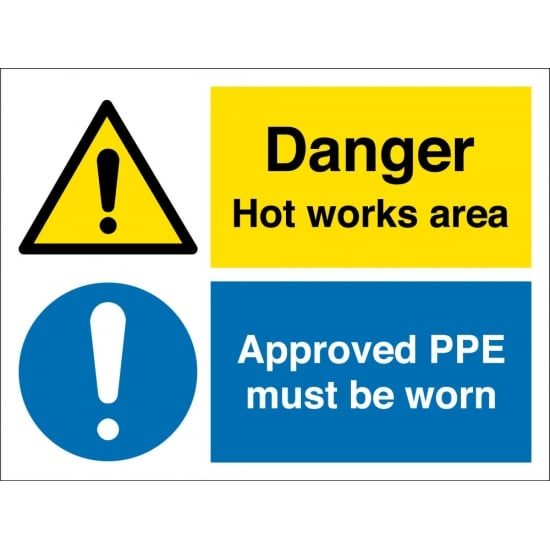 Hot Works Area Approved PPE Must Be Worn Signs