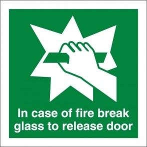 In Case Of Fire Break Glass To Release Door Signs