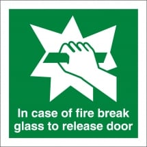 In Case Of Fire Break Glass To Release Door Signs