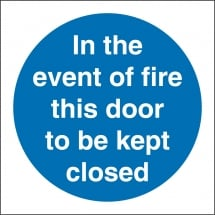 In The Event Of Fire This Door To Be Kept Closed Signs