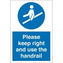 Keep Right And Use The Handrail Signs