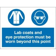 Lab Coats and Eye Protection Must Be Worn Beyond This Point Signs